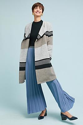 Slide View: 1: Striped Sweater Jacket
