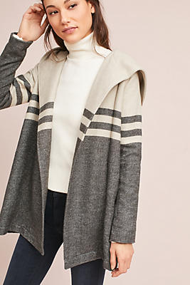 Slide View: 1: Blocked & Striped Sweater Jacket