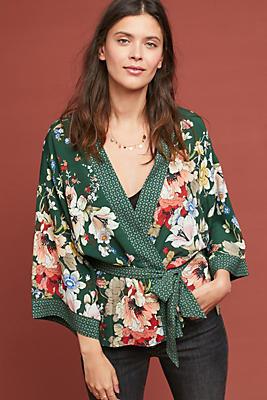 Slide View: 1: Floral Kimono Jacket
