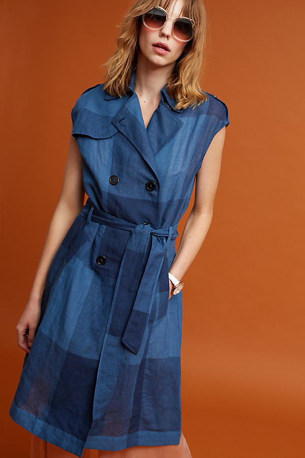 Neele Checkered Trench Coat, Navy - Navy, Size M