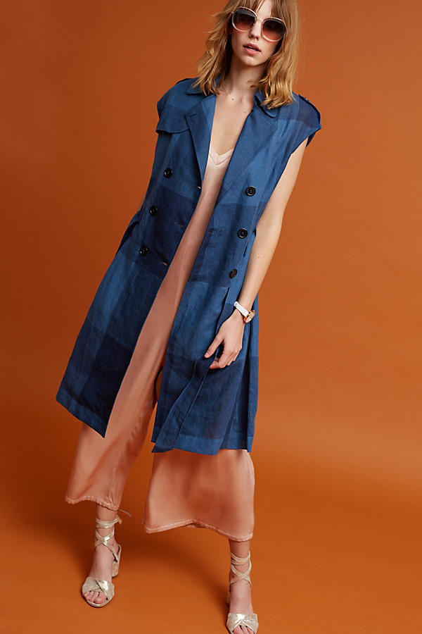 Slide View: 3: Neele Karierter Trenchcoat, marineblau