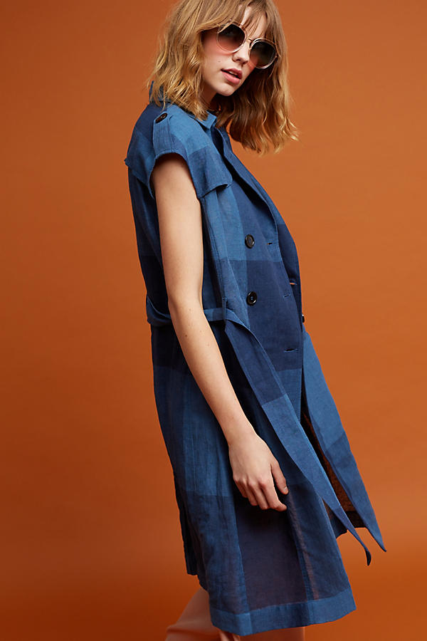 Slide View: 4: Neele Karierter Trenchcoat, marineblau