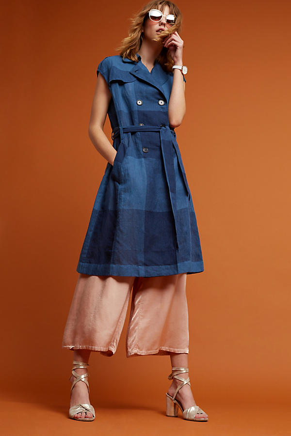 Slide View: 2: Neele Karierter Trenchcoat, marineblau