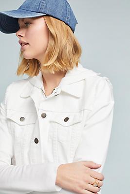 Slide View: 1: Hooded Denim Jacket