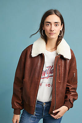 Slide View: 1: 7 For All Mankind Leather Bomber Jacket