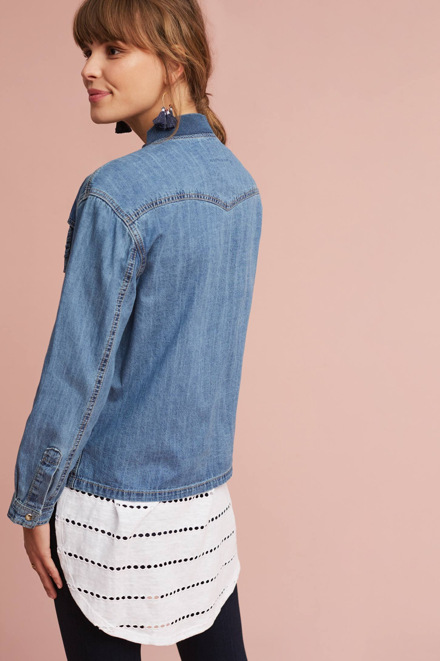Slide View: 2: Wilma Denim Bomber Shirt Jacket