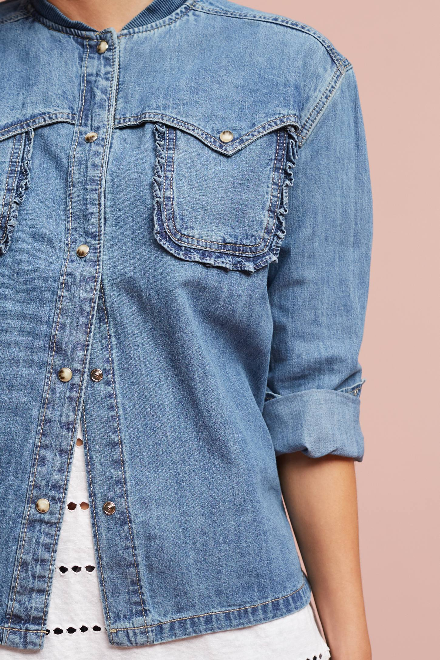 Slide View: 3: Wilma Denim Bomber Shirt Jacket