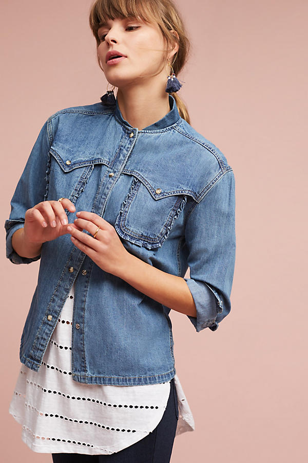 Slide View: 1: Wilma Denim Bomber Shirt Jacket