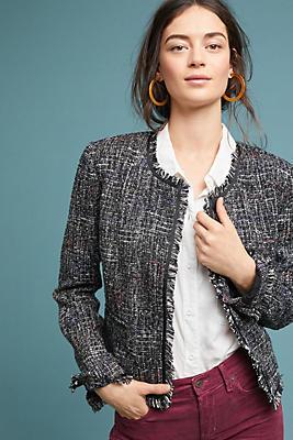Slide View: 1: Tati Fringed Tweed Jacket