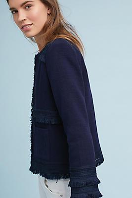 Slide View: 1: Audrey Fringed Linen Jacket