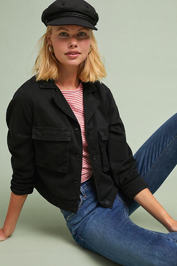 Cloth & Stone Cropped Military Jacket - Black, Size Xs