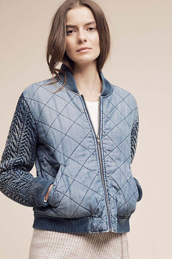 Slide View: 2: Quilted Chambray Bomber Jacket, Blue