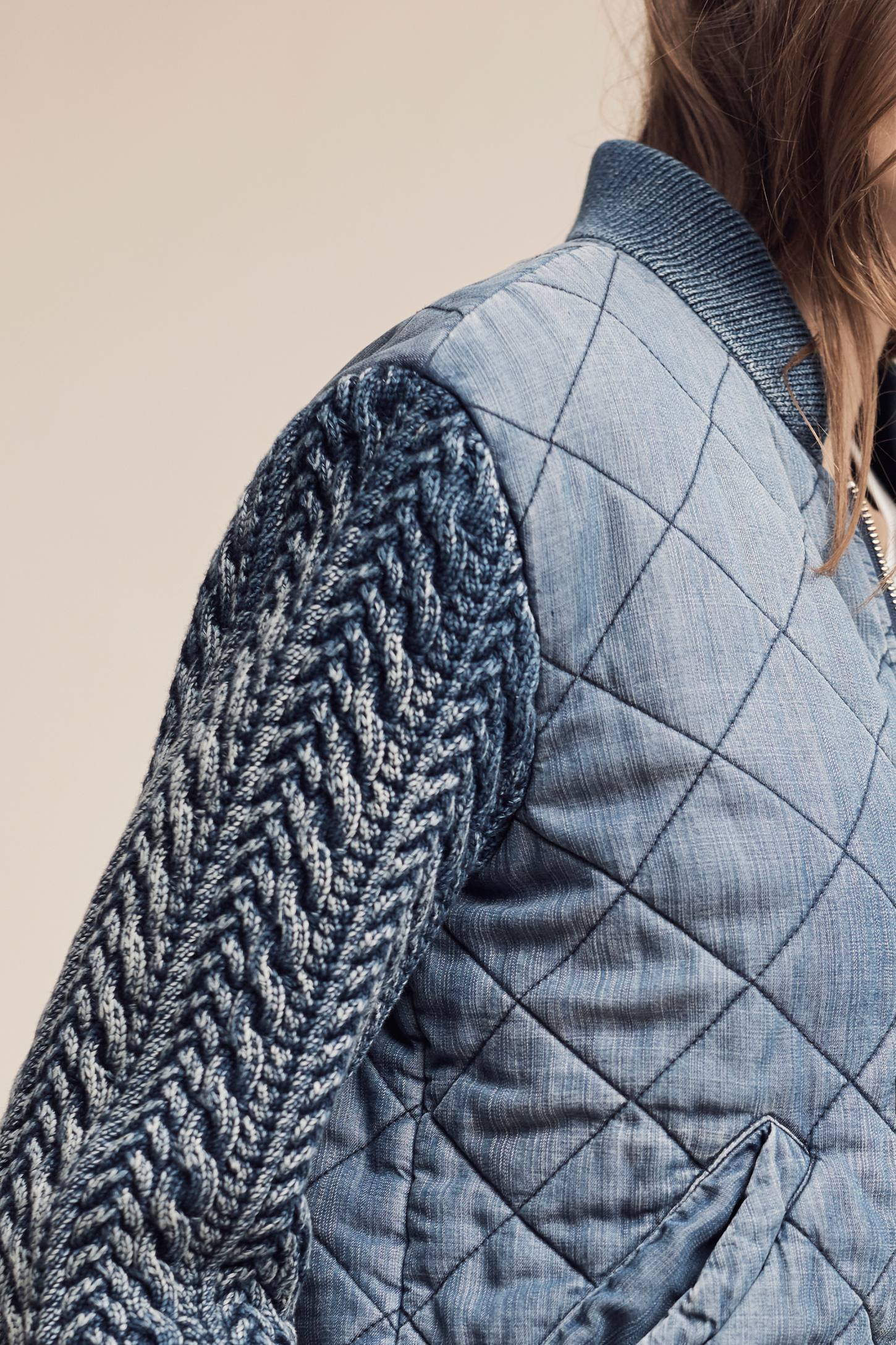 Slide View: 4: Quilted Chambray Bomber Jacket, Blue