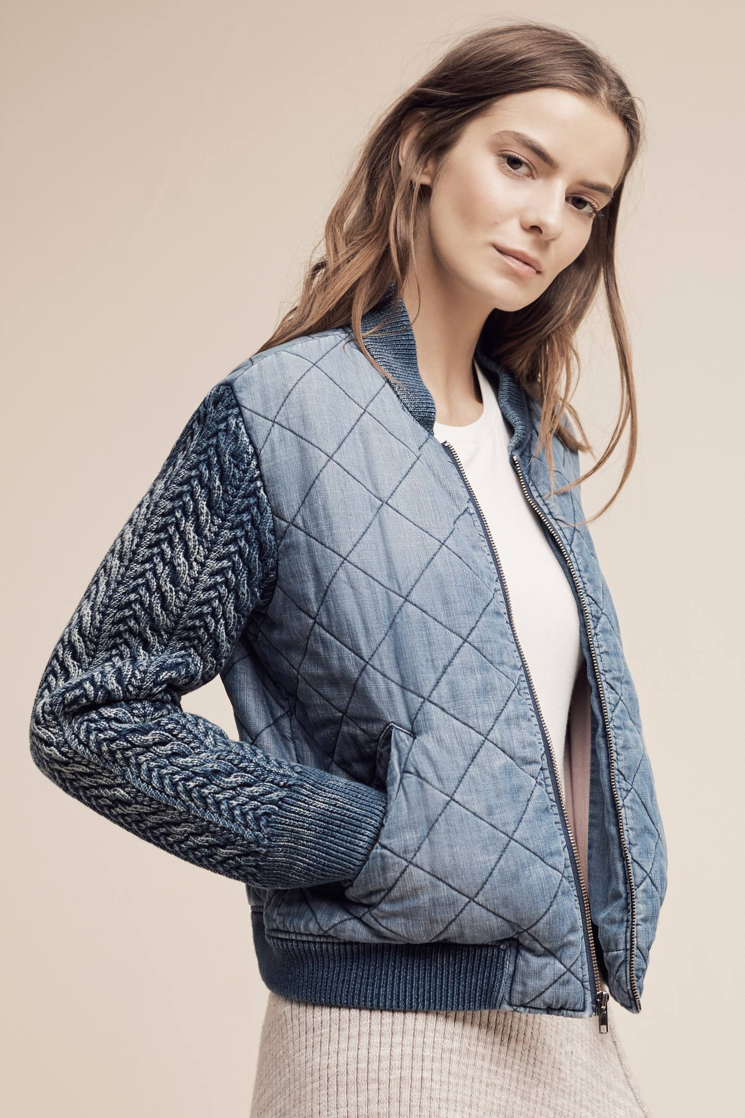 Slide View: 1: Quilted Chambray Bomber Jacket, Blue