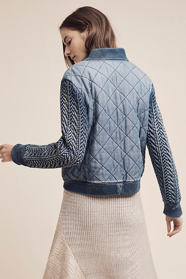 Slide View: 5: Quilted Chambray Bomber Jacket, Blue