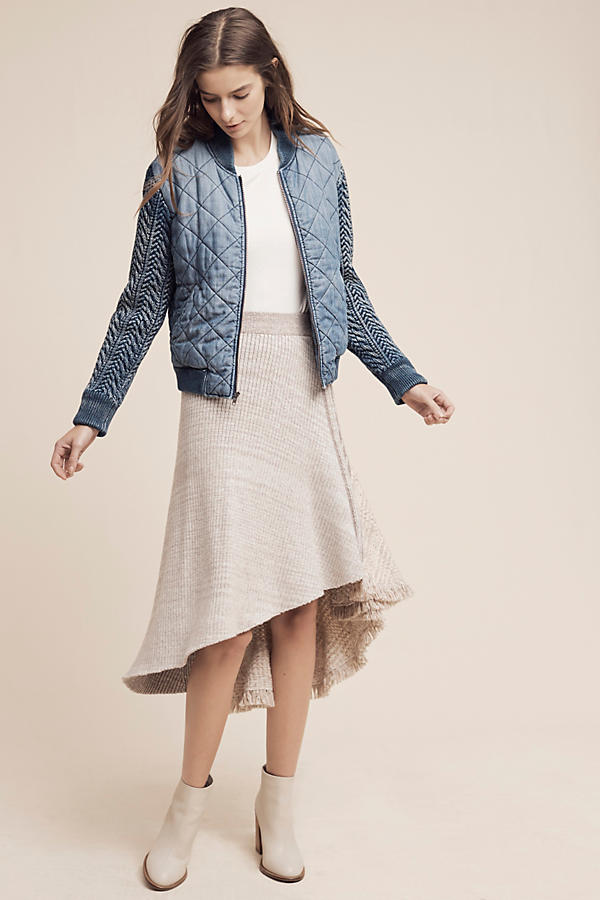 Slide View: 3: Quilted Chambray Bomber Jacket, Blue