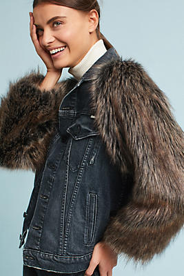 Slide View: 1: Mother The Drifter Faux Fur-Sleeved Jacket