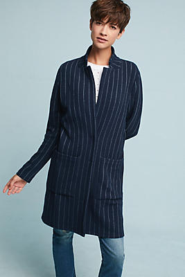 Slide View: 1: Pinstripe Longline Jacket