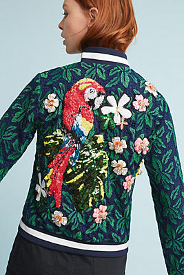 Slide View: 2: Parrot Embellished Bomber