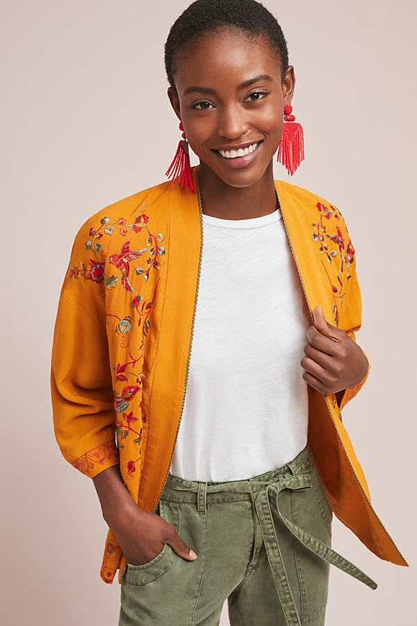Tille Embroidered Jacket - Yellow, Size M