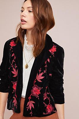Slide View: 1: Embroidered Velvet Blazer