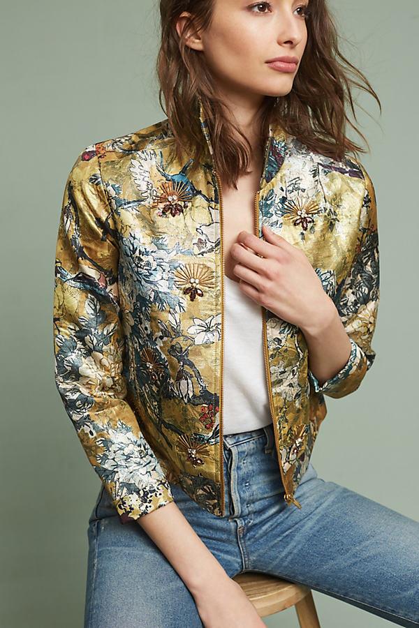 Abigail Brocade Blazer, Metallic - A/s, Size L