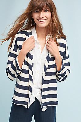 Slide View: 1: Nautical Stripe Kimono Jacket