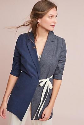 Slide View: 1: Colorblock Tie-Front Long Blazer