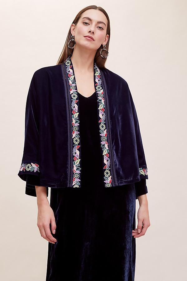 Megane Embroidered-Velvet Kimono - Blue, Size Uk 14