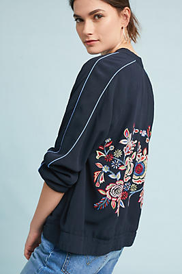 Slide View: 1: Embroidered Bomber Jacket