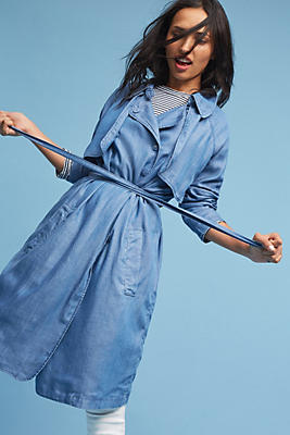 Slide View: 1: Chambray Duster Coat