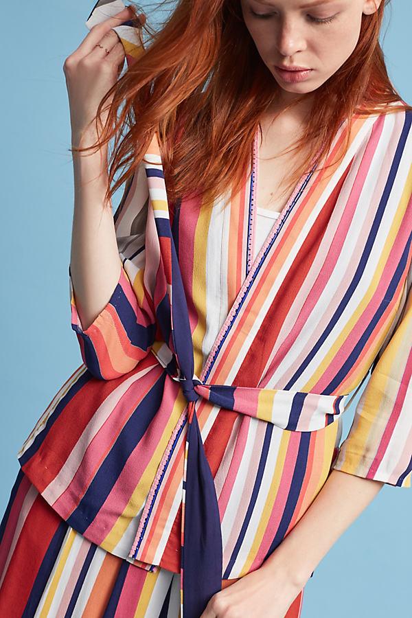 Anzio Striped Jacket, Orange - A/s, Size S