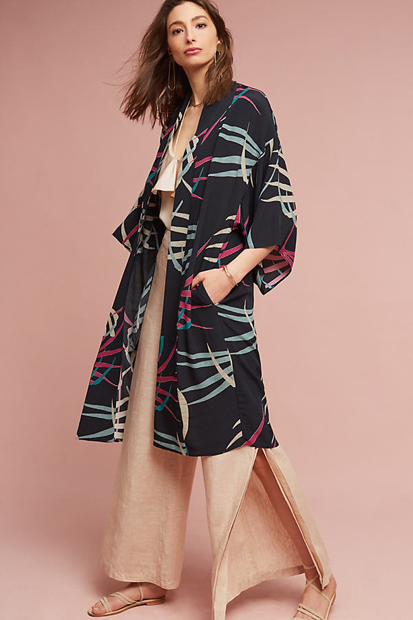 Kira Longline Kimono Jacket, Black - Navy, Size Xs/s