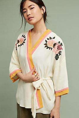 Slide View: 1: Paula Embroidered Kimono