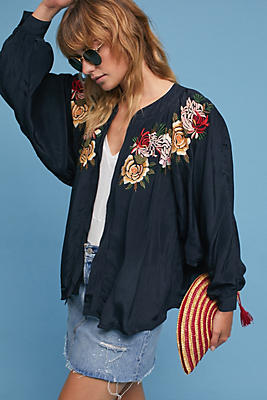 Slide View: 1: Floral Applique Jacket