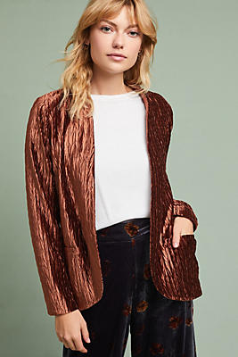 Slide View: 1: Draped Velvet Blazer