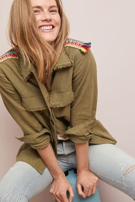 Slide View: 1: Embroidered Utility Jacket