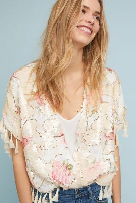 Traffic People   Rosie Sequin Kimono  -    PEACH