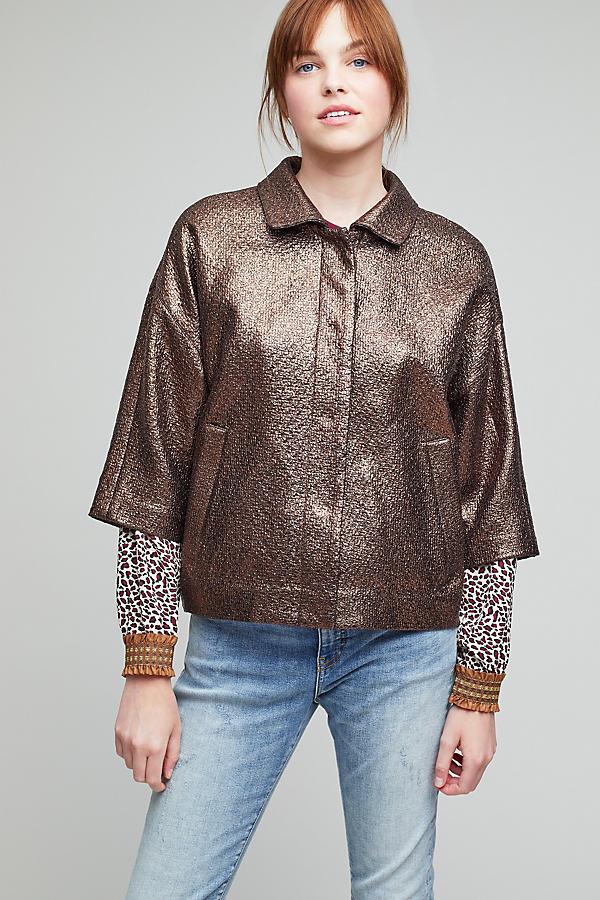 Hayden Bronze Cropped Sleeve Jacket - Bronze, Size Uk 8