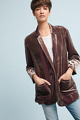 Slide View: 1: Iridescent Velvet Blazer