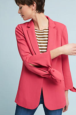 Slide View: 1: Tied-Sleeve Blazer