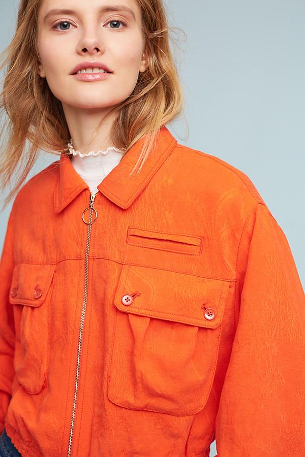 Cora Jacquard Eisenhower Jacket, Red - Bright Red, Size M