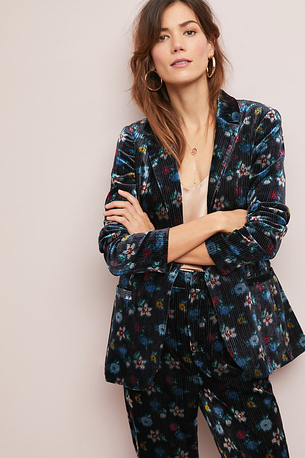 Floral-Print Velvet Blazer - Assorted, Size Uk 8