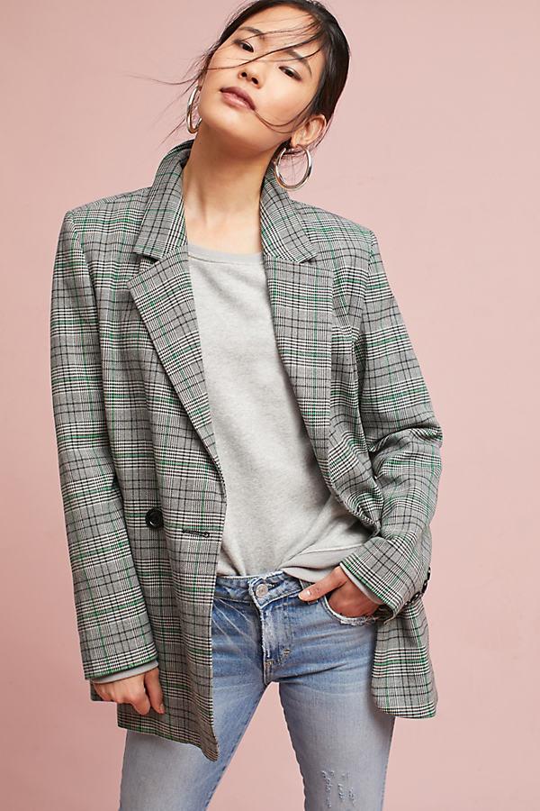 Plaid Long Blazer - Brown, Size L