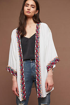 Slide View: 1: Border-Embroidered Kimono