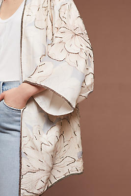 Slide View: 1: Floral Silk Kimono Jacket