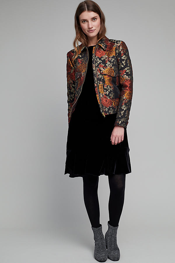 Adhra Floral Jacquard Bomber Jacket - A/s, Size L
