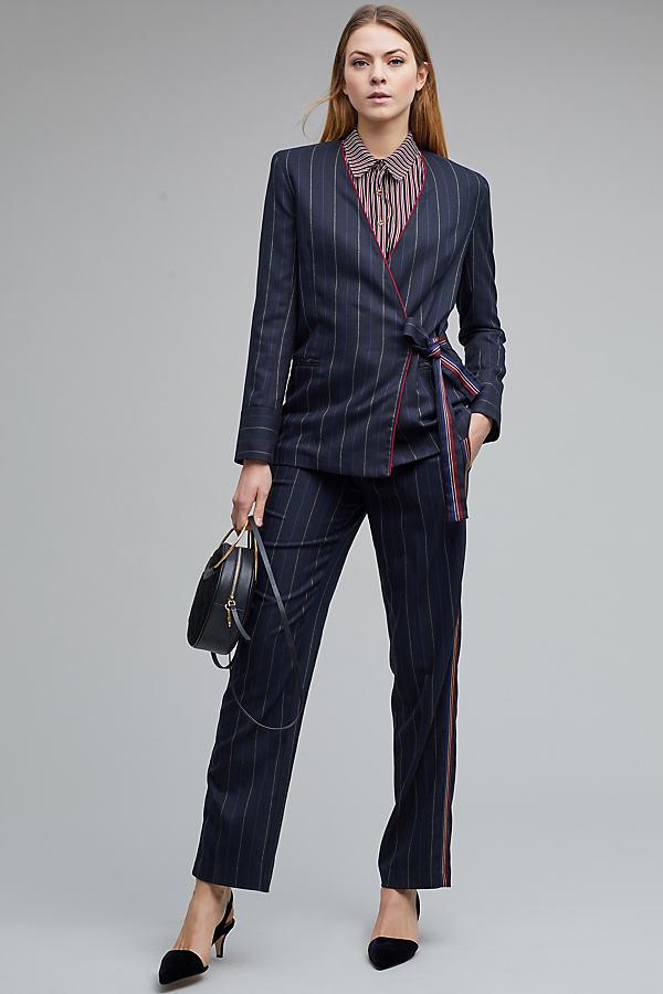 Malden Striped Wrap Blazer, Black - Black, Size M