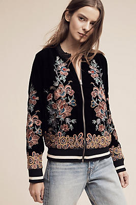 Slide View: 1: Embroidered Velvet Bomber