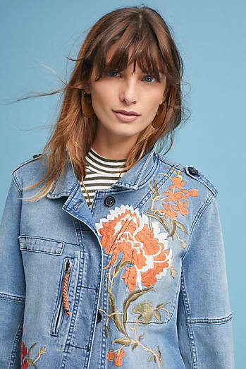 Embroidered Denim Anorak